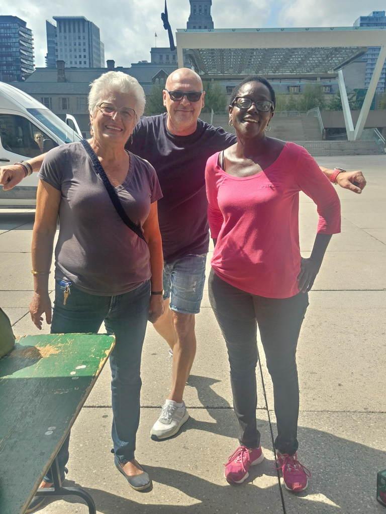 Barbara Hall, Jennifer and Jack at Nathan Phillips Farmers' Market